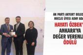 Özbek'e 'Ankara'ya Değer Verenler' ödülü.