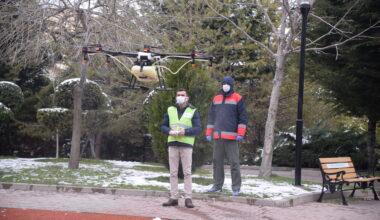 Türkiye'de bir ilk: Drone ile dezenfekte çalışması