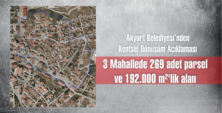 Akyurt Belediyesi açıkladı: Toplam 192 bin metrekare