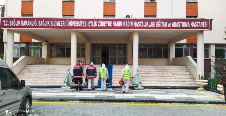 Pursaklar Belediyesi devlet hastanelerini dezenfekte ediyor