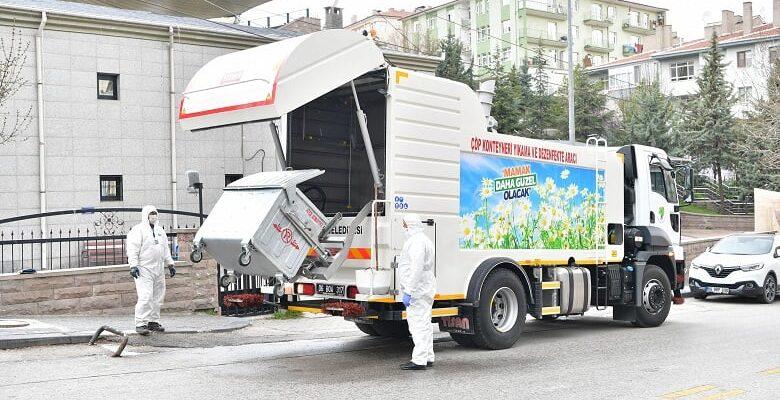 Mamak'ta çöp konteynırlarına dezenfektanlı özel temizlik