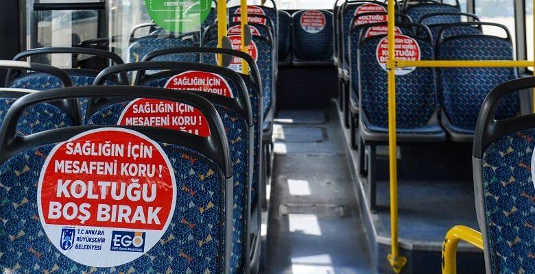 """EGO otobüslerinde """"Sosyal mesafeni koru"""" farkındalığı"""