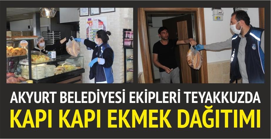 Akyurt'ta kapı kapı ekmek dağıtımı başladı