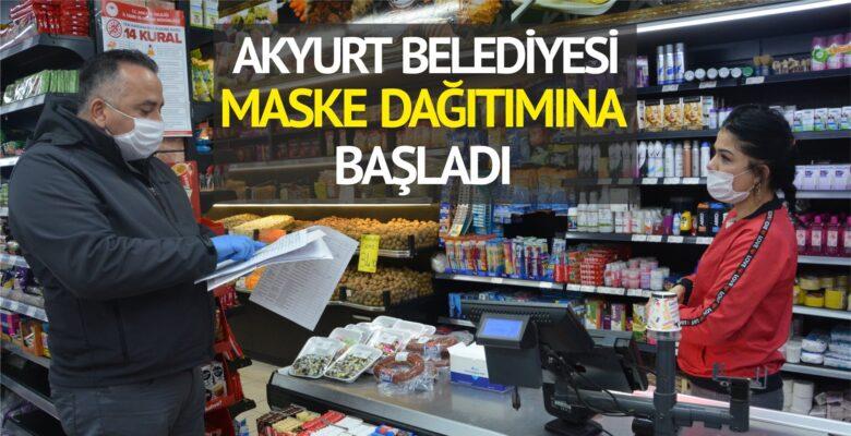 Akyurt Belediyesi maske dağıtımına başladı