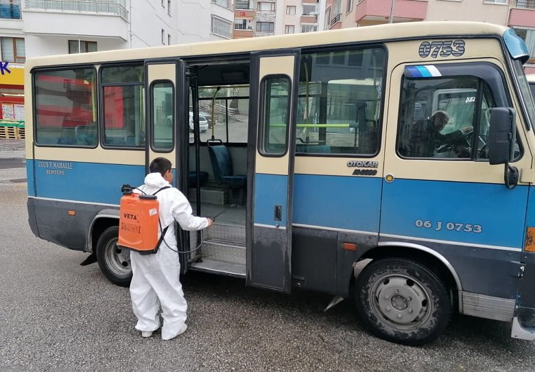 Yenimahalle'de toplu taşımada hijyen sağlandı