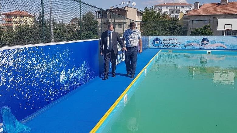 Prefabrik yüzme havuzu hizmete açıldı