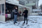 Başkan Çetin'den kar altında esnaf ziyareti