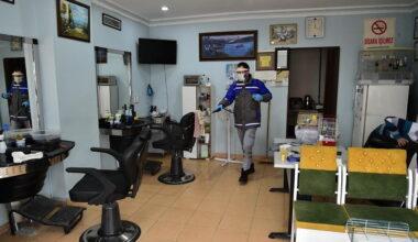 Mamak'ta iş yerlerini dezenfekte işlemi devam ediyor