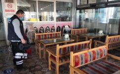 Pursaklar'da Yeniden Hizmete Açılan İş Yerlerinde Yoğun Dezenfekte Çalışması