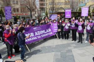 Akyurt'ta CHP'li kadınlar İstanbul Sözleşmesi kararını protesto etti