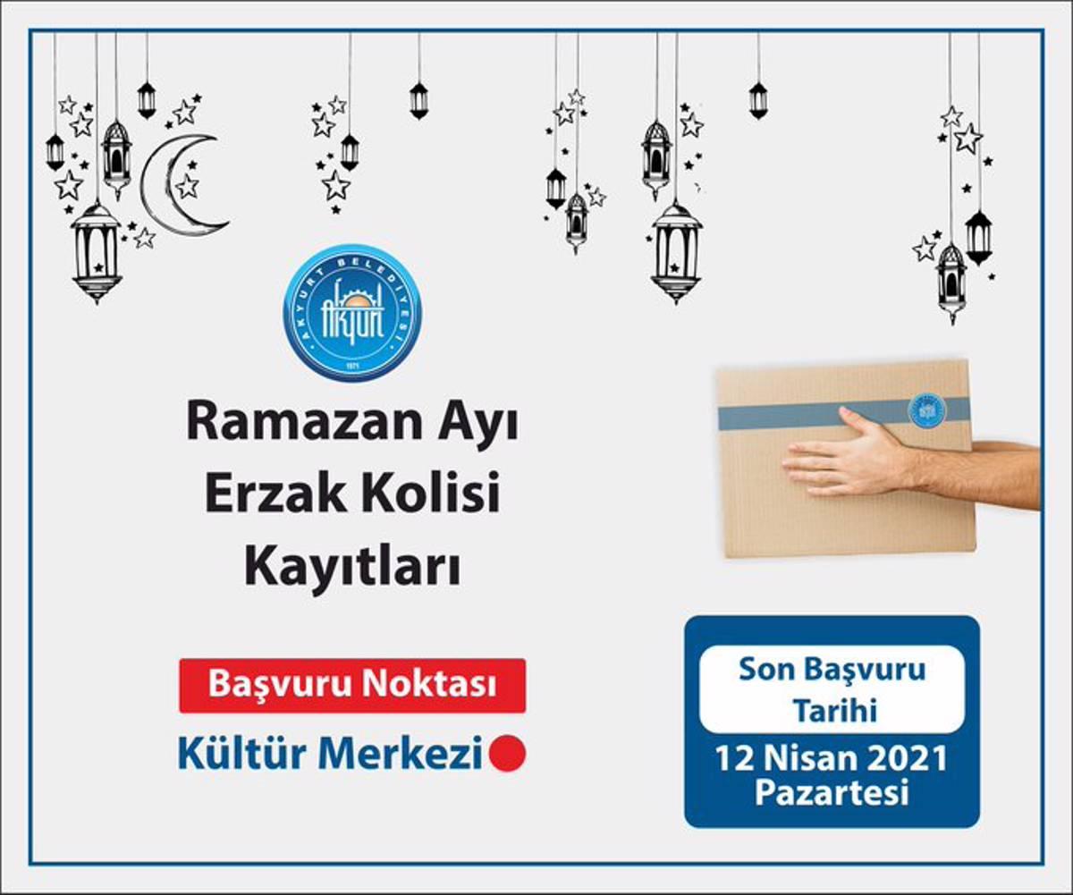 Akyurt Belediyesi'nden ramazan yardımı. Başvurular devam ediyor