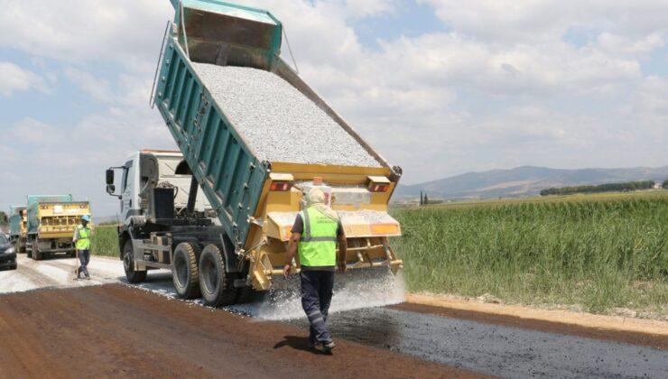 Manisa Salihli kırsalında asfalt çalışması