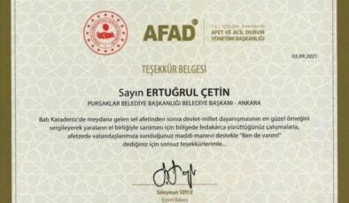 Bakan Süleyman Soylu'dan Başkan Ertuğrul Çetin'e Teşekkür Belgesi